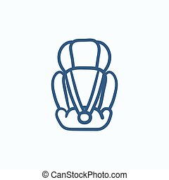 Baby car seat sketch icon.