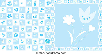 Baby card birthday for boy with cute pattern and flowers