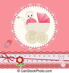 Baby card for invitation, greeting, birthday