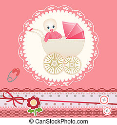 Baby card for invitation, greeting, birthday
