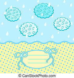 Baby Card with Bow Drops Clouds and Label for Text