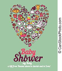 Baby Care - Baby shower announcement card in vector format