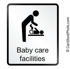 Baby Care Facilities Information Si - Monochrome baby care...