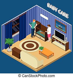 Baby Care Isometric Composition - Baby care isometric...