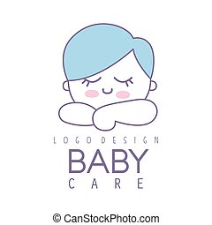 Baby care logo design, emblem with cute sleeping kid, label...