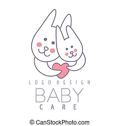Baby care logo design, emblem with two cute bunnies with heart, label for kids club, baby or toys shop and any other children projects colorful vector Illustration