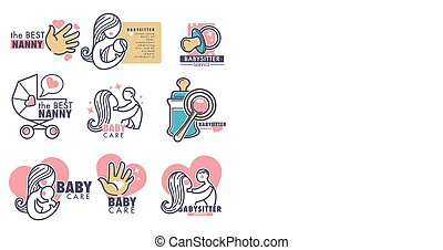 Baby care nanny service person looking for children vector...