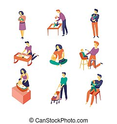 Baby care parents and newborn child isolated characters