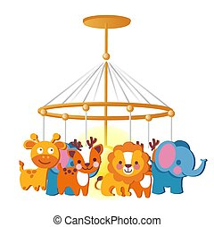 Baby carousel with hanging toys isolated on white background. Vector cartoon close-up illustration.