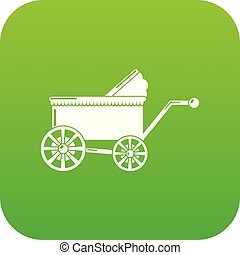Baby carriage ancient icon green vector