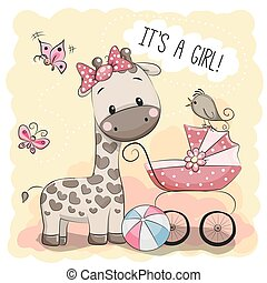 Baby carriage and Giraffe - Greeting card it's a girl with...