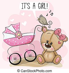 Baby carriage and teddy bear
