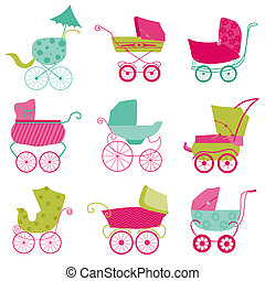 Baby Carriage Background - for your design and scrapbook in vector
