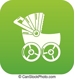 Baby carriage big icon green vector