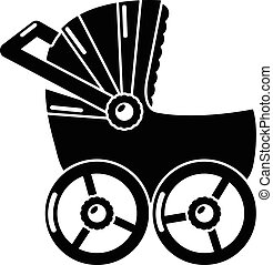 Baby carriage big icon, simple black style