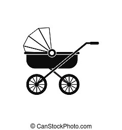 Baby carriage black simple icon
