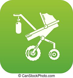 Baby carriage classy icon green vector