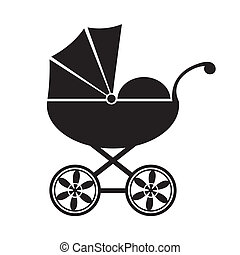 Baby carriage - Cute black baby carriage icon on a white...
