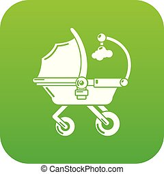 Baby carriage cute icon green vector