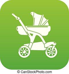 Baby carriage designer icon green vector