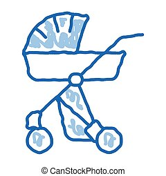 Baby Carriage doodle icon hand drawn illustration