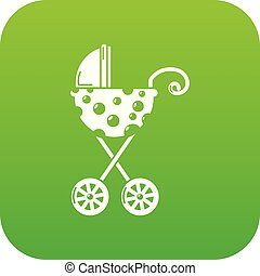 Baby carriage elegant icon green vector