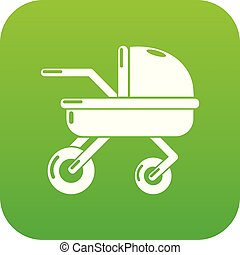Baby carriage family icon green vector