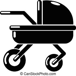 Baby carriage family icon, simple black style
