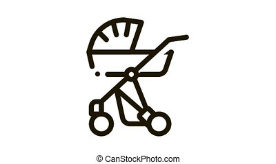 Baby Carriage Icon Animation. black Baby Carriage animated icon on white background