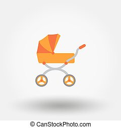 Baby carriage. Icon.