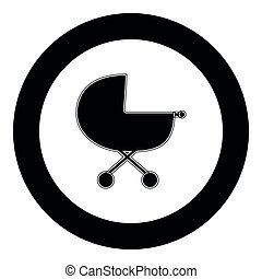 Baby carriage  icon black color in circle