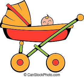 Baby carriage icon cartoon