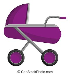 Baby carriage icon, cartoon style