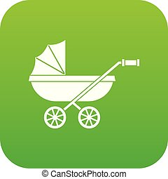 Baby carriage icon digital green