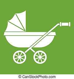 Baby carriage icon green