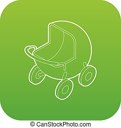 Baby carriage icon green vector