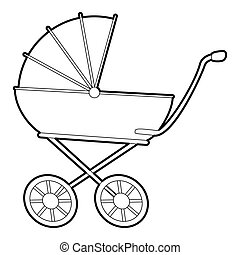 Baby carriage icon, isometric 3d style