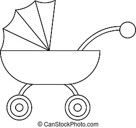 Baby carriage icon, outline style