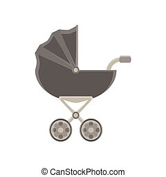 Baby carriage icon pram stroller vector silhouette illustration isolated