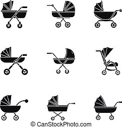 Baby carriage icon set, simple style