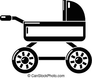 Baby carriage icon, simple black style