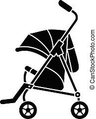 Baby carriage icon, simple style