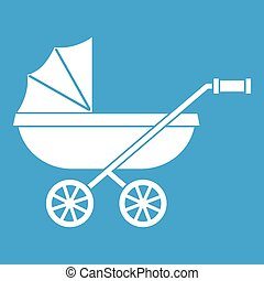 Baby carriage icon white