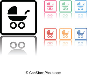 Baby carriage icon with a reflection underneath on white
