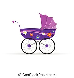 baby carriage in pink for girl vector illustration