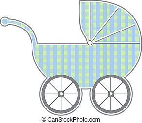 Isolated baby carriage silhouette with cute pattern