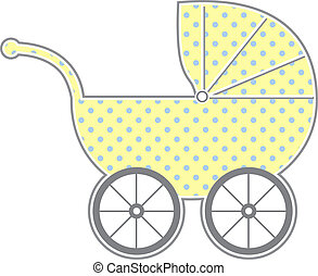 Baby Carriage - Isolated baby carriage silhouette with cute...