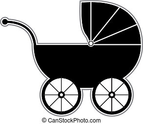 Baby Carriage - Isolated Black and white baby carriage ...