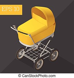 baby carriage isometric vector illustration