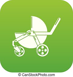 Baby carriage modern icon green vector